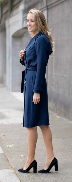 navy long trench coat + black suede block heel pumps with pointed toe