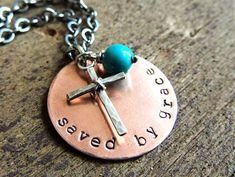 Saved by Grace Cross Necklace, Bible Verse Ephesians 2:8, Christian Necklace, Inspirational, Religious