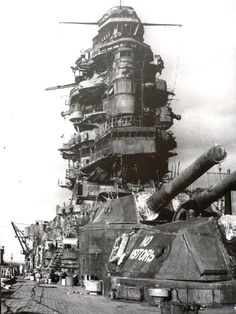 Bridge area of 16 in Nagato pictured post WW2 in late 1945: the only Japanese battleship to survive WW2 afloat (albeit in a badly damaged condition), Yamamoto's flagship during the attack on Pearl Harbor was sacrificed in US nuclear tests.