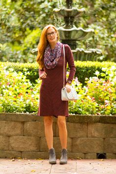 Collaboration with Aventura-Eco-friendly Clothing- Burgundy Dress Styled with Scarf - Elegantly Dressed & Stylish - Over 40 Fashion Blog