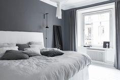 99 White And Grey Master Bedroom Interior Design 36 Master Bedroom Interior, Gray Bedroom, Home Decor Bedroom, Bedroom Curtains, Design Bedroom, Bedroom Furniture, Bedroom Styles, Grey Walls, Interior Design