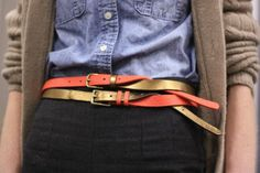 Fashion Tips from a J.Crew Stylist | two skinny belts