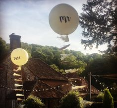 Ivory giant balloons inscribed with Mr & Mrs and hung with ivory and gold tassel tails blow in the evening breeze for a lovely country wedding at The White Horse Chilgrove, South Downs Bubble Balloons, Giant Balloons, Confetti Balloons, Bubbles, Wedding Balloons, White Horses, Mr Mrs, Corporate Events, Breeze