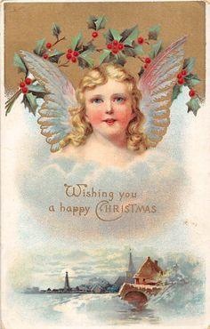Wishing You a Happy Christmas! Angel Girl Cherub, Mistletoes | eBay