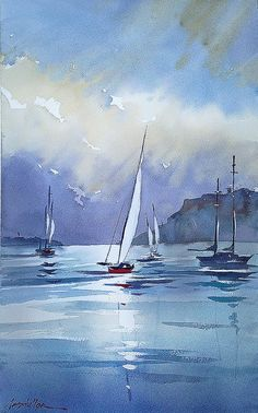 thomas w. schaller - watercolor artist Plein-air half sheet demo - Bay at Shelter Island - San Diego Watercolor Society.