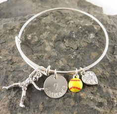 Softball Personalized Hand Stamped Adjustable Wire Bangle Bracelet