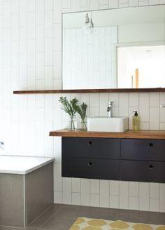 Doherty lynch Bathroom all tiles vertical, small sink wood vanity New Bathroom Ideas, Bathroom Inspiration, Dream Bathrooms, Beautiful Bathrooms, Timber Shelves, Bathroom Cabinetry, Small Sink, Wood Vanity, Laundry In Bathroom