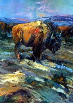 """""""High Plains Bison""""30"""" X 40"""" SOLD -Bison Paintings Bison, Buffalo & Big Horn Sheep paintings - """"American Bison and Bighorn Sheep""""by Terry Lee"""