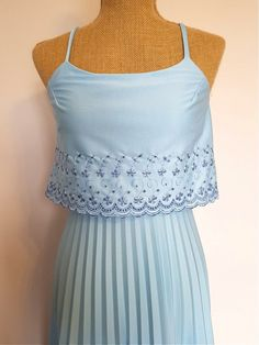 Items similar to Lori Ann blue gown on Etsy Vintage Formal Dresses, Dress Vintage, Maxi Gowns, Prom Dresses, Blue Gown, 1970s, Camisole Top, Ann, Elegant
