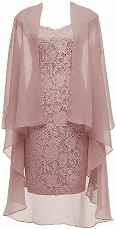 Dusty Pink Short Lace Mother of the Bride Dress with Jacket Formal Gowns at Amaz. - Bridal Gowns Dusty Pink Short Lace Mother of the Bride Dress with Jacket Formal Gowns at Amaz. Formal Evening Dresses, Formal Gowns, Prom Gowns, Formal Prom, Bridal Gowns, Dress Prom, Formal Wear, Formal Dresses, Party Dresses