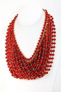 Red statement necklace | Victoria Desemone Accessories