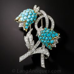 Platinum Diamond and Turquoise Bellflower Brooch with 18K yellow gold - mid 20th century