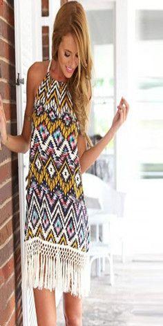 Bohemia Style Backless Fringed Rhombus Floral Print Sling Dress  #popular