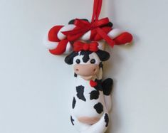 Polymer Clay Cow Christmas Ornament