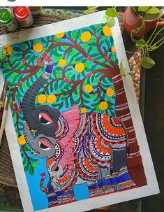 Madhubani Paintings Peacock, Madhubani Art, Indian Art Paintings, Easy Paintings, Fold Clothes, House Paintings, Buddha Canvas, Diy Mother's Day Crafts, Card Drawing