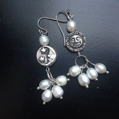 Freshwatr pearl earrings with Night/day beads