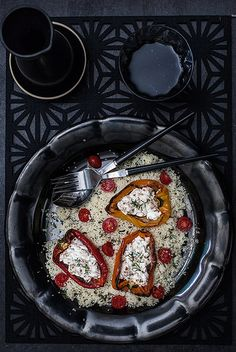 Roasted Peppers With Goat's Cheese on Herby Couscous by ilva