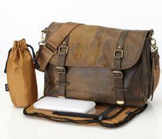 OiOi:Jungle Leather Satchel Diaper Bag (6487)