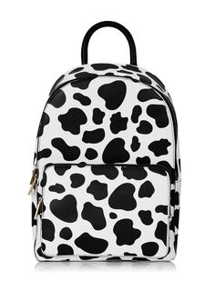 **Cow Print Backpack by Skinnydip - @ Topshop Backpack Purse, Fashion Backpack, Cow Outfits, Black Bucket Hat, Cow Decor, Skinnydip London, Cow Pattern, Cute Cows, Cute Backpacks
