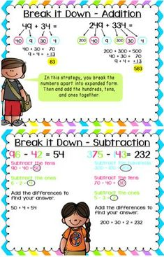 2 & 3 Digit Addition and Subtraction Strategies Pack - Modern Design Subtraction Strategies, Math Subtraction, Addition Strategies, Mental Math Strategies, Math Charts, Math Anchor Charts, Math Resources, Math Activities, Second Grade Math