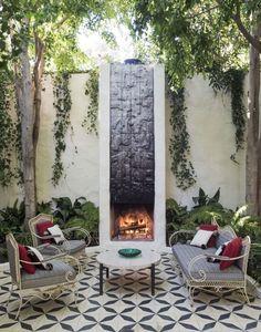 fireplace Shamshiri courtyard Los Angeles by Matthew Williams