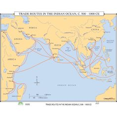 (indian ocean trade routes) Subsequent Mongol decline returned attention to trade in the Indian Ocean. The question of leadership in global contacts was in flux in 1450.