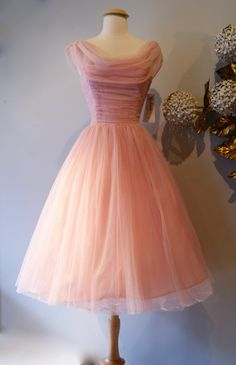 Vintage Dress 50s Dress // Vintage 1950s Cotton Candy Chiffon by xtabayvintage, $248.00