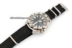 NATO Genuine Black Leather Watch Strap For Seiko Watches