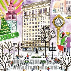 Art by Michael Storrings: The Flatiron Building in New York City Christmas In The City, New York Christmas, Vintage Christmas, Christmas Cards, Animated Reindeer, New York Weihnachten, New York Winter, Flatiron Building, New Puzzle