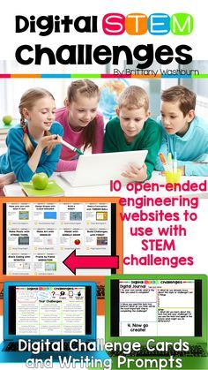 Digital STEM Challenges Websites Version STEM goes digital with these fun and engaging design challenges. 10 websites and 90 challenges perfect for grades 3 and up. If you are in a paperless classroom or with laptops or Chromebooks then these are ideal Stem Learning, Project Based Learning, Learning Sites, Science Classroom, Teaching Science, Teaching Ideas, Computer Lab Classroom, Computer Teacher, Computer Class