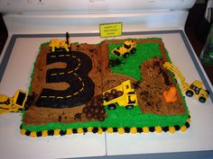 3rd birthday party digger cake we made!