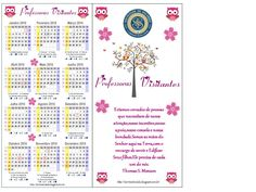 Marcador de página com calendário 2016 para as Professoras Visitantes