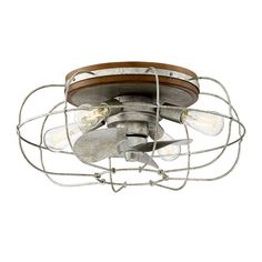 17 Stories Junction 3 Blade Outdoor Ceiling Fan with Remote, Light Kit Included Finish: Galvanized Flush Mount Ceiling Fan, Ceiling Fan With Remote, Ceiling Fan Makeover, Metal Fan, Outdoor Ceiling Fans, Unique Ceiling Fans, Candelabra Bulbs, Cool Floor Lamps, Galvanized Metal