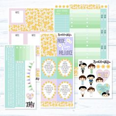 """All original patterns and artwork! A Pride and Prejudice literature kit perfect for any Jane Austen lover!  This listing is for our CLASSIC FULL COVER kit – Our signature layout is perfect if you don't need a lot of functional stickers and do not like having many leftovers. Each kit is designed to give you a full weekly spread with no """"white space"""" (please be aware that date covers may be sold individually outside of the set)!  CLASSIC FULL COVER: 5 Sheets, 63 Stickers Total: in PREMIUM…"""