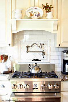 belle foret pot stainless steel pot filler with white subway tile backsplash and diy mantel range hood-www.goldenboysandme.com