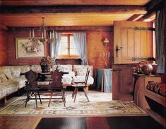 The casual dining room in a chalet designed by Alain Demachy in Gstaad in the 1980's. Photo by Marianne Haas
