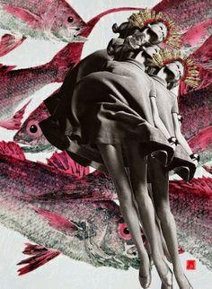 Collague: Marias en el Mar #peces #rosas #retro #coronas #espinas #vuelas