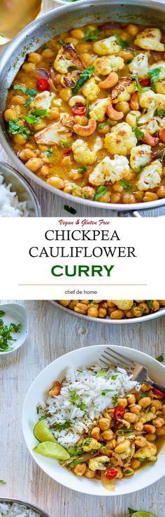 Chickpea Cauliflower Curry - Vegan, healthy 20 minutes curry with chickpeas and cauliflower simmered in coconut-curry broth. gluten free
