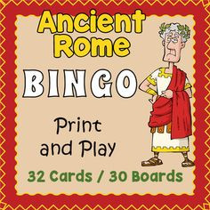 Your students will love playing this colorful and informative game of Ancient Rome bingo.  It makes a great introduction to the subject for a history lesson and a welcome fun break in the classroom.  Included are 32 vocabulary calling cards and 30 unique bingo game boards.