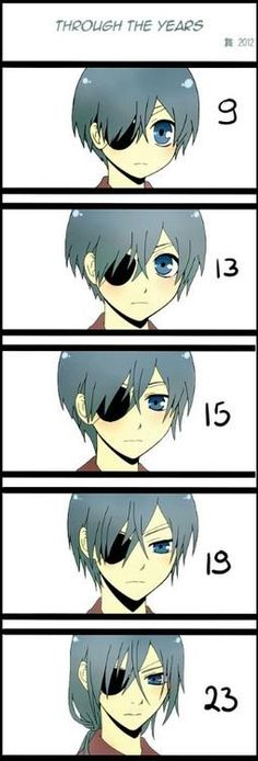Ciel Phantomhive throughout the years - Kuroshitsuji / Black Butler.                       I think he would look differently at the age of 23