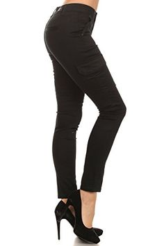 Enjean Women's Slim-Fit Cargo Pants w/ Side-Flap