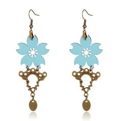 1pair Trendy Imitation Leather Flower Dangle Earring Antique Bronze SkyBlue 85mm