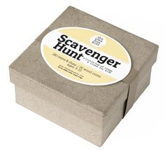 Fun box filled with scavenger hunt prompts for kids. This little box is stuffed with lots of scavenger hunt finds from around house. Children are asked to find specific items and given descriptions th