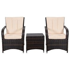 Tangkula 3 PCS Outdoor Patio Sofa Sets Rattan Furniture Two Arm Chairs and Ende Table -- Read more  at the image link.