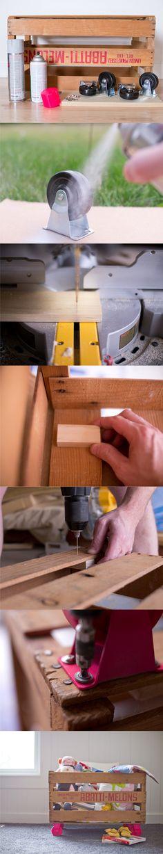 Reciclar una caja de frutas para guardar juguetes / Via blog.hgtv.com