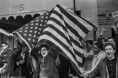 A New York pro-Vietnam war demonstration is captured in another image taken by Larry Fink