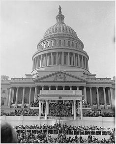 The U.S. Capitol and the Inaugural platform during ceremonies for Dwight D. Eisenhower as President of the United States. 01/20/1953