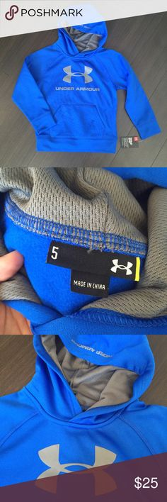 Under Armour warm hoodie 5 yrs Nwt. In perfect new condition. 100% polyester. Fleece lined. Light and warm hoodie. No trade Under Armour Shirts & Tops Sweatshirts & Hoodies