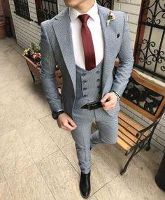 men suits casual -- CLICK Visit above for more options Big Man Suits, Best Suits For Men, Blue Suit Men, Cool Suits, Mens Fashion Suits, Mens Suits, Suit Combinations, Formal Men Outfit, Work Attire