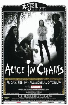 Concert poster for Alice In Chains at the Fillmore in Denver, CO in 11 x 17 on card stock. Rock N Roll, Rock & Pop, Tour Posters, Band Posters, Music Posters, Event Posters, Heavy Metal, Sound Of Music, Music Love
